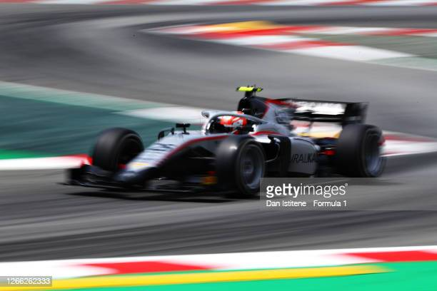 Luca Ghiotto of Italy and Hitech Grand Prix drives during practice for the Formula 2 Championship at Circuit de Barcelona-Catalunya on August 14,...