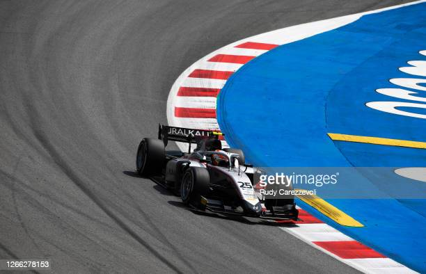 Luca Ghiotto of Italy and Hitech Grand Prix drives on track during practice for the Formula 2 Championship at Circuit de Barcelona-Catalunya on...