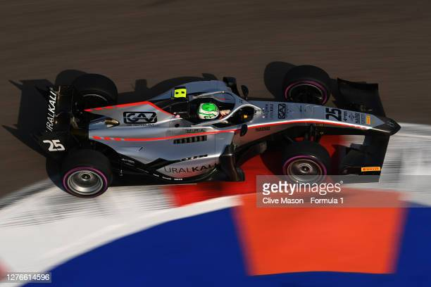 Luca Ghiotto of Italy and Hitech Grand Prix drives on track during qualifying ahead of the Formula 2 Championship at Sochi Autodrom on September 25,...