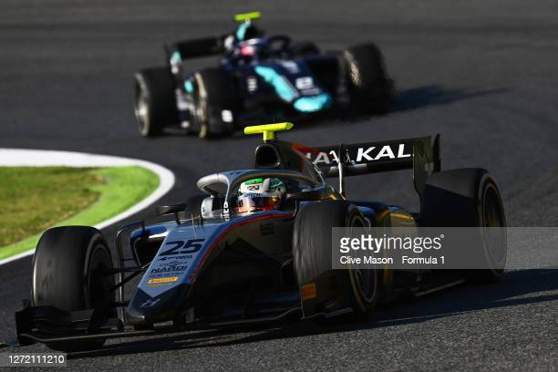 Luca Ghiotto of Italy and Hitech Grand Prix leads Dan Ticktum of Great Britain and DAMS during the Formula 2 Championship Feature Race at Mugello...