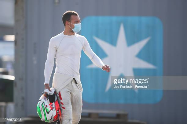 Luca Ghiotto of Italy and Hitech Grand Prix prepares for practice ahead of the Formula 2 Championship at Sochi Autodrom on September 25, 2020 in...