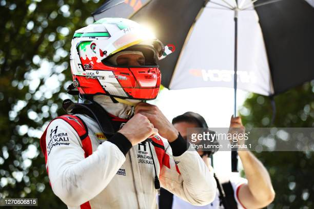 Luca Ghiotto of Italy and Hitech Grand Prix prepares to drive before practice for the Formula 2 Championship at Autodromo di Monza on September 04,...