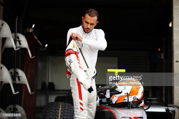 Luca Ghiotto of Italy and Hitech Grand Prix prepares to drive during qualifying for the Formula 2 Championship at Circuit de Spa-Francorchamps on...