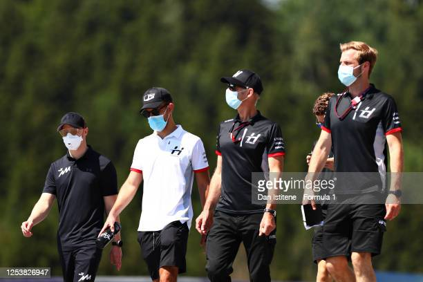 Luca Ghiotto of Italy and Hitech Grand Prix walks the track with his team during previews for the Formula 2 Championship at Red Bull Ring on July 02,...