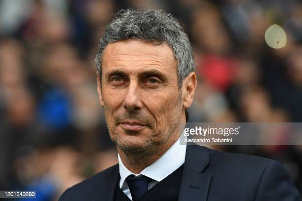 Luca Gotti, head coach of Udinese Calcio looks on during the Serie A match between Udinese Calcio and Hellas Verona at Stadio Friuli on February 16,...