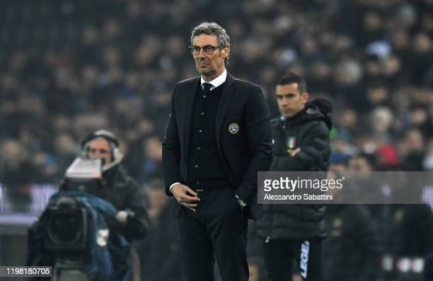 Luca Gotti head coach of Udinese Calcio reacts during the Serie A match between Udinese Calcio and FC Internazionale at Stadio Friuli on February 2...