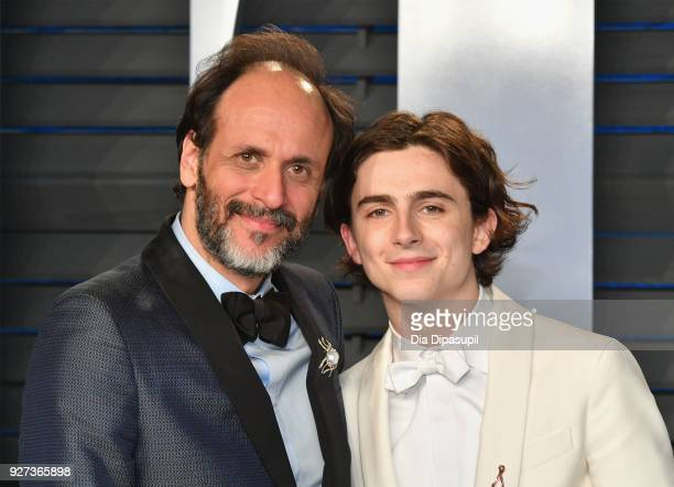 Luca Guadagnino and Timothee Chalamet attend the 2018 Vanity Fair Oscar Party hosted by Radhika Jones at Wallis Annenberg Center for the Performing...