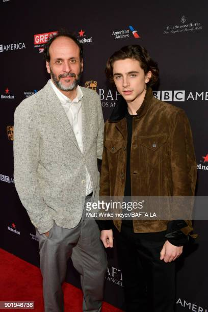 Luca Guadagnino and Timothee Chalamet attend The BAFTA Los Angeles Tea Party at Four Seasons Hotel Los Angeles at Beverly Hills on January 6 2018 in...