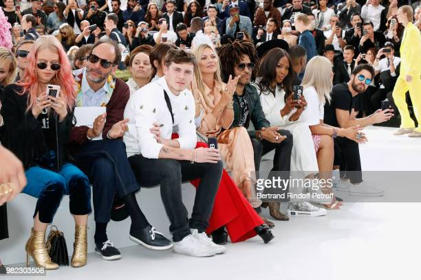 Luca Guadagnino Brooklyn Beckham his mother Victoria Beckham Kate Moss Lenny Kravitz and Naomi Campbell attend the Dior Homme Menswear Spring/Summer...
