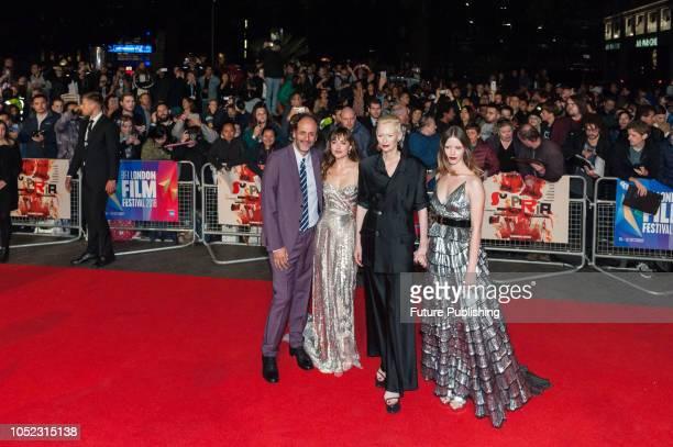 Luca Guadagnino, Dakota Johnson, Tilda Swinton and Mia Goth attend the UK film premiere of 'Suspiria' at Cineworld, Leicester Square, during the 62nd...