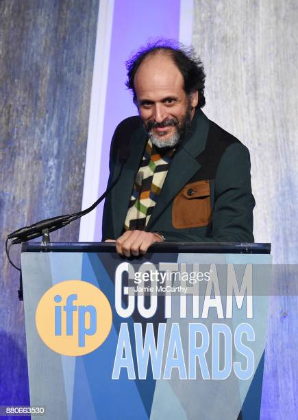 Luca Guadagnino speaks onstage at the 2017 IFP Gotham Awards at Cipriani Wall Street on November 27 2017 in New York City