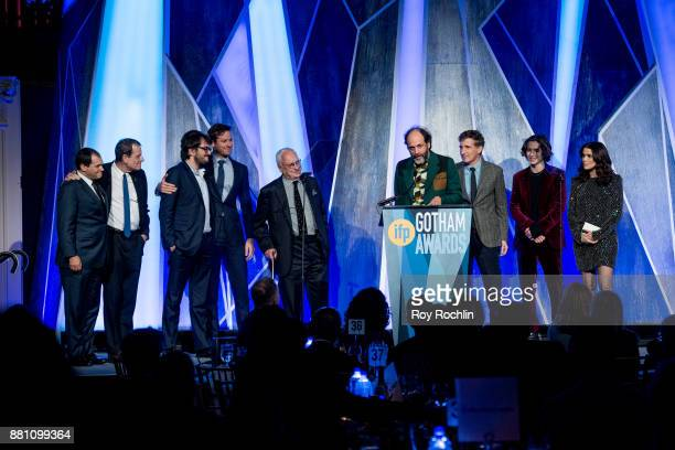 Luca Guadagnino speaks onstage with the cast of 'Call Me By Your Name' during IFP's 27th Annual Gotham Independent Film Awards at Cipriani Wall...