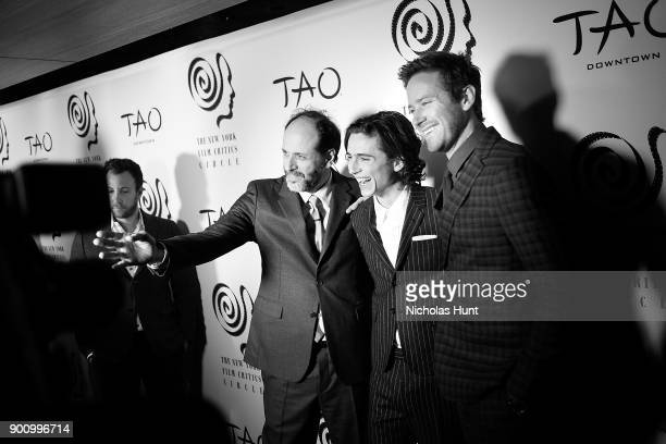 Luca Guadagnino Timothee Chalamet and Armie Hammer attend the 2017 New York Film Critics Awards at TAO Downtown on January 3 2018 in New York City