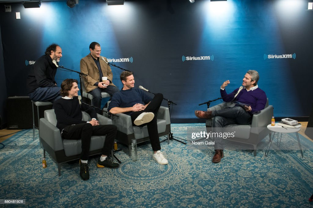 Luca Guadagnino, Timothee Chalamet, Michael Stuhlbarg and Armie Hammer speak with host Andy Cohen during a visit to the SiriusXM Studios on November 27, 2017 in New York City.