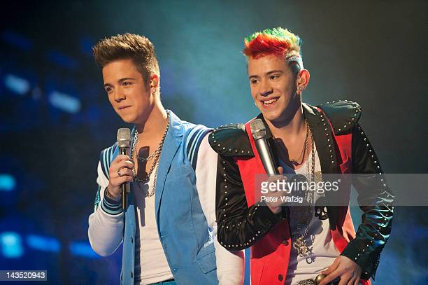Luca Haenni and Daniele Negroni perform during the 'Deutschland Sucht Den Superstar' Finals at Coloneum on April 28 2012 in Cologne Germany
