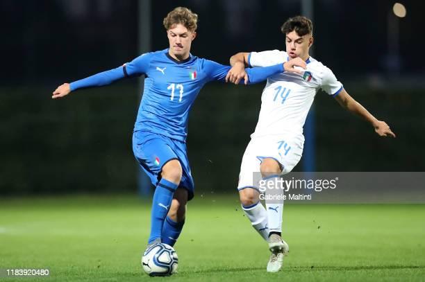 "Luca Innocenti of Italy U17 in action against Valentino Salducco of Italy U17 selezione B during the FIGC ""Torneo dei Gironi"" at Centro Tecnico..."