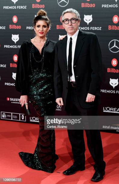 Lucía Jimenez and David Trueba attend during Feroz awards red carpet on January 19 2019 in Bilbao Spain