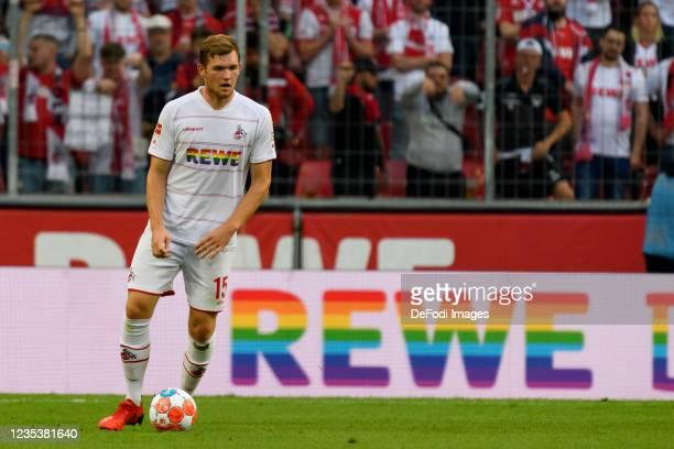Luca Kilian of 1. FC Koeln controls the ball during the Bundesliga match between 1. FC Koeln and RB Leipzig at RheinEnergieStadion on September 18,...