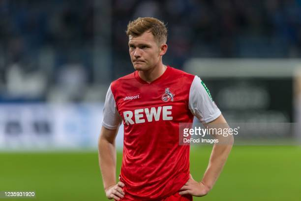 Luca Kilian of 1.FC Koeln Looks on after the Bundesliga match between TSG Hoffenheim and 1. FC Köln at PreZero-Arena on October 15, 2021 in Sinsheim,...
