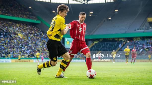 Luca Kilian of Dortmund and Manuel Wintzheimer of Munich fight for the ball during the U19 German Championship Final between Borussia Dortmund and FC...