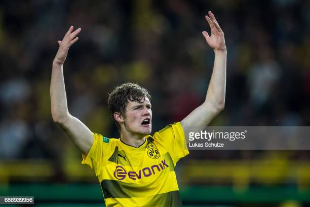 Luca Kilian of Dortmund celebrates his goal during the U19 German Championship Final between Borussia Dortmund and FC Bayern Muenchen on May 22 2017...