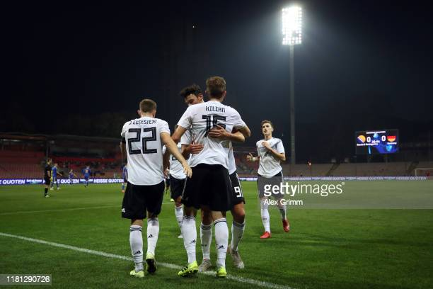 Luca Kilian of Germany celebrates his team's first goal during the UEFA U21 Championship Qualifying match between Bosnia and Herzegovina U21 and...