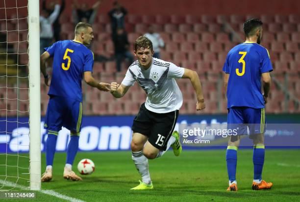 Luca Kilian of Germany celebrates scoring his team's first goal during the UEFA U21 Championship Qualifying match between Bosnia and Herzegovina U21...