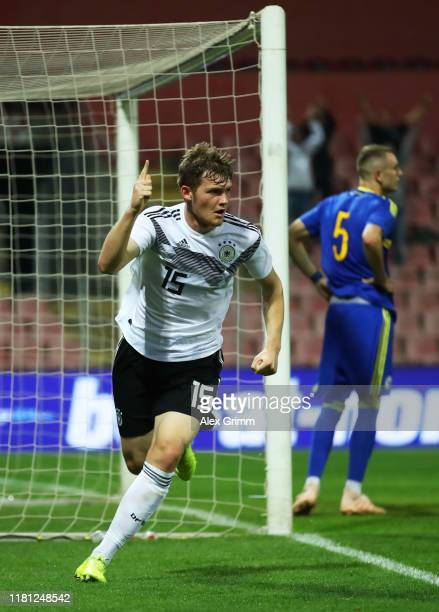 Luca Kilian of Germany celebrates scoring his team's first goal during the UEFA U21 Championship Qualifying match between Bosnia and Herzegovina U21...
