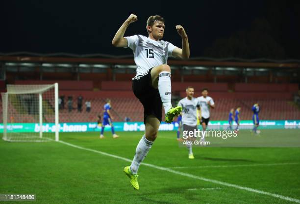 Luca Kilian of Germany celebrates scoring their first goal during the UEFA U21 Championship Qualifying match between Bosnia and Herzegovina U21 and...