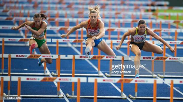 Luca Kozák from Hungry Nadine Visser from The Netherlands and Dutkiewicz from Germany during the Women's 100m Hurdles SemFinal on Day 3 of the...