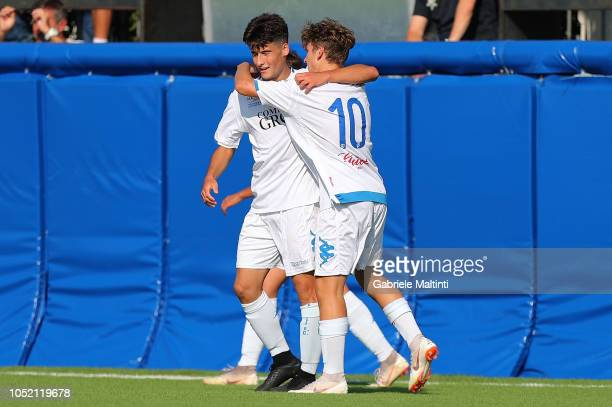 Luca Lombardi and Matteo Martini of Empoli FC celebrates after scoring a goal during the match between Empoli FC U17 and ACF Fiorentina U17 on...