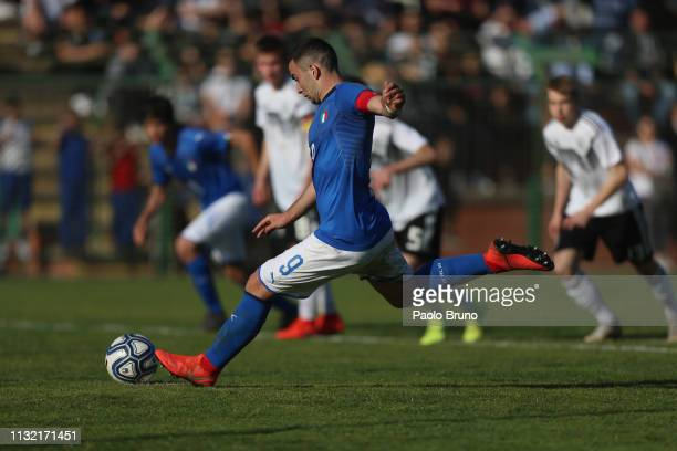 Luca Magazzu of Italy U16 scores the team's second goal from penalty spot during the International Friendly match between Italy U16 and Germany U16...