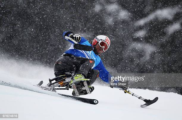 Luca Maraffio of Italy practices during a training run for the Men's Downhill Sitting prior to the 2010 Vancouver Winter Paralympics at Whistler...