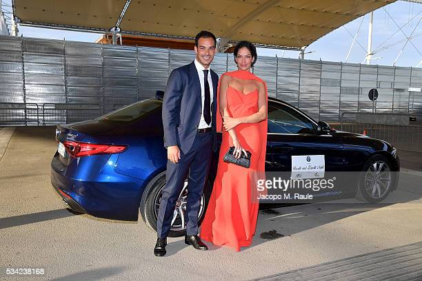 Luca Marin and Fernanda Lessa arrive at Bocelli and Zanetti Night on May 25 2016 in Rho Italy
