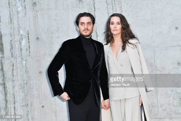 Luca Marinelli and Alissa Jung are seen at the Giorgio Armani fashion show on January 13 2020 in Milan Italy