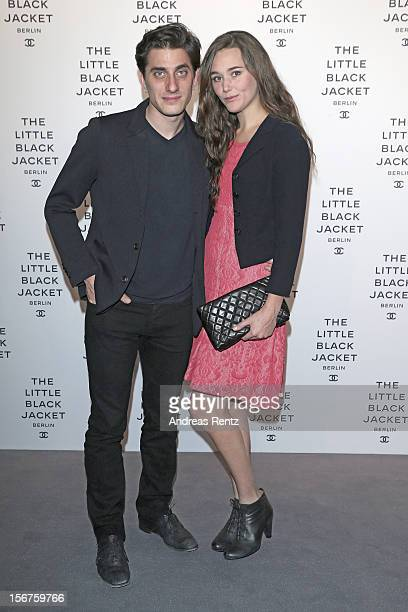 Luca Marinelli and Alissa Jung attend CHANEL 'The Little Black Jacket' - Exhibition Opening by Karl Lagerfeld and Carine Roitfeld on November 20,...