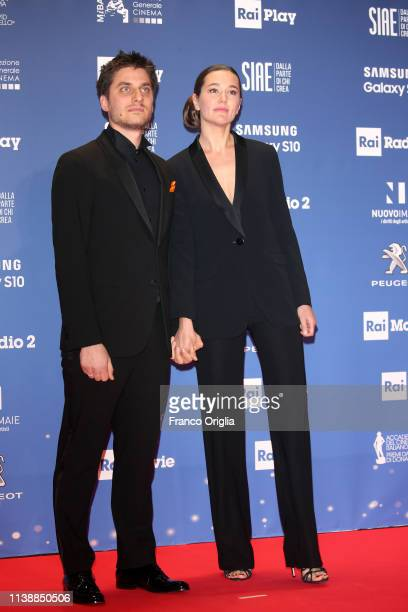 Luca Marinelli and Alissa Jung attend the 64. David Di Donatello awards on March 27, 2019 in Rome, Italy.