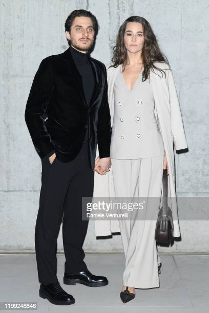 Luca Marinelli and Alissa Jung attend the Giorgio Armani fashion show on January 13, 2020 in Milan, Italy.
