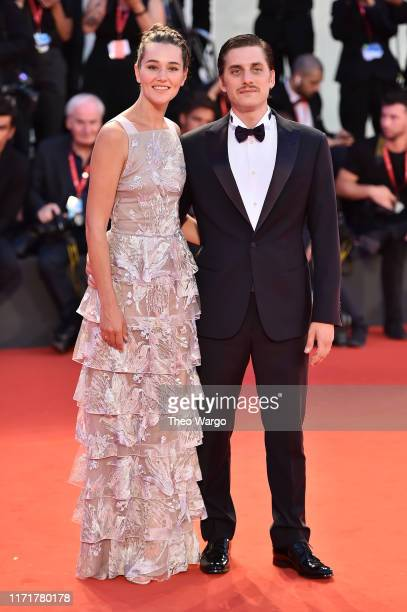 Luca Marinelli and Alissa Jung walks the red carpet ahead of the Martin Eden screening during the 76th Venice Film Festival at Sala Grande on...