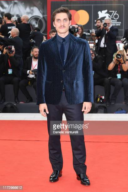 """Luca Marinelli of """"Martin Eden"""" walks the red carpet ahead of the closing ceremony of the 76th Venice Film Festival at Sala Grande on September 07,..."""