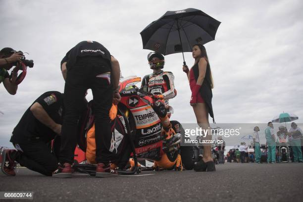 Luca Marini of Italy and Forward Racing Team prepares to start on the grid during the Moto2 race during the MotoGp of Argentina Race on April 9 2017...