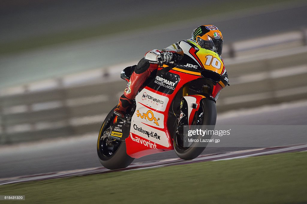 Luca Marini of Italy and Forward Team heads down a straight during the Moto2 And Moto 3 Tests at Losail Circuit on March 13, 2016 in Doha, Qatar.