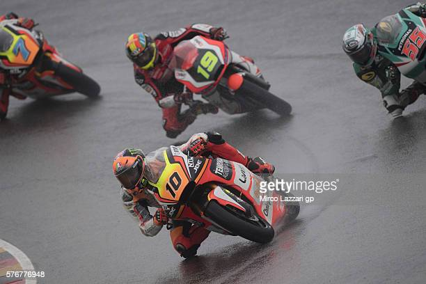 Luca Marini of Italy and Forward Team leads the field during the Moto2 race during the MotoGp of Germany Race at Sachsenring Circuit on July 17 2016...