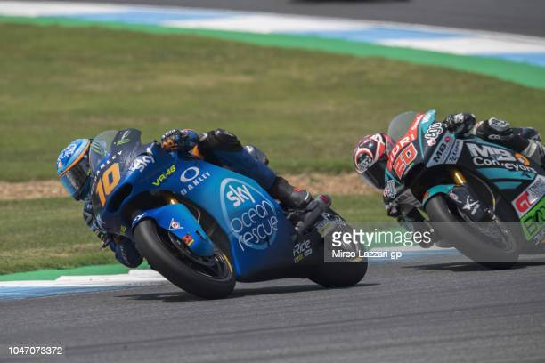 Luca Marini of Italy and Sky Racing Team VR46 leads the field during the Moto2 race during the MotoGP Of Thailand Race on October 7 2018 in Buri Ram...