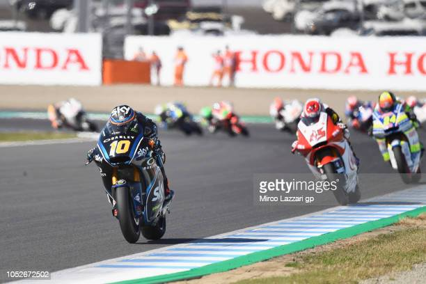 Luca Marini of Italy and Sky Racing Team VR46 leads the field during the Moto2 race during the MotoGP of Japan Race at Twin Ring Motegi on October 21...