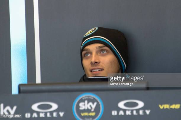 Luca Marini of Italy and Sky Racing Team VR46 looks on in box during the MotoGp Of Great Britain Free Practice at Silverstone Circuit on August 24...