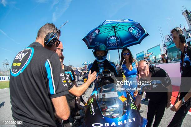 Luca Marini of Italy and Sky Racing Team VR46 prepares to start on the grid during the Moto2 race during the MotoGP of San Marino Race at Misano...