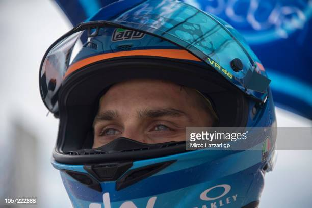 Luca Marini of Italy and Sky Racing Team VR46 prepares to start on the grid during the Moto2 race during the MotoGP Of Malaysia Race at Sepang...