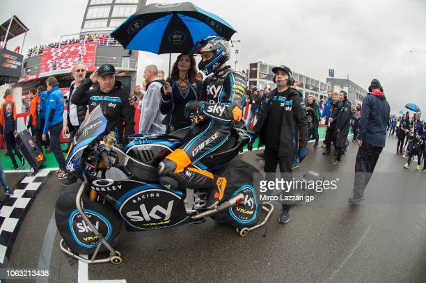 Luca Marini of Italy and Sky Racing Team VR46 prepares to start on the grid during the Moto2 race during the MotoGP Of Valencia Race at Ricardo Tormo...