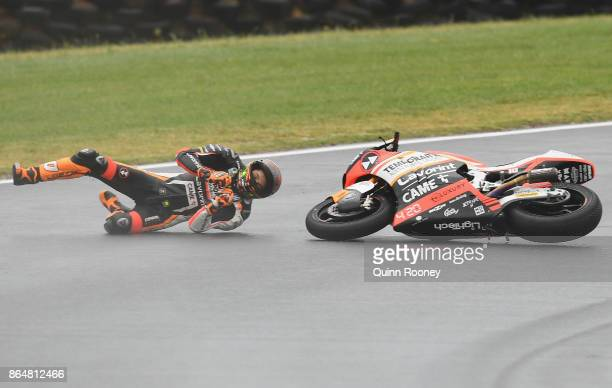 Luca Marini of Italy and the Forward Racing Team crashes during warm up of the Moto2 during the 2017 MotoGP of Australia at Phillip Island Grand Prix...